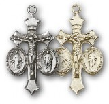 Jesus, Mary, Joseph Medal Crucifix - Sterling, Gold Filled, or 14KT