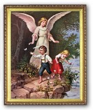 Guardian Angel with Children 8x10 Framed Picture