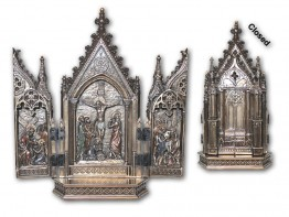 Bronze Dipped Crucifixion Triptych