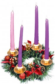 Red Ribbon Advent Wreath