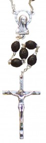 Carved Bead Black Rosary
