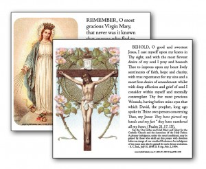 Prayer Before a Crucifix / Memorare Prayer Card
