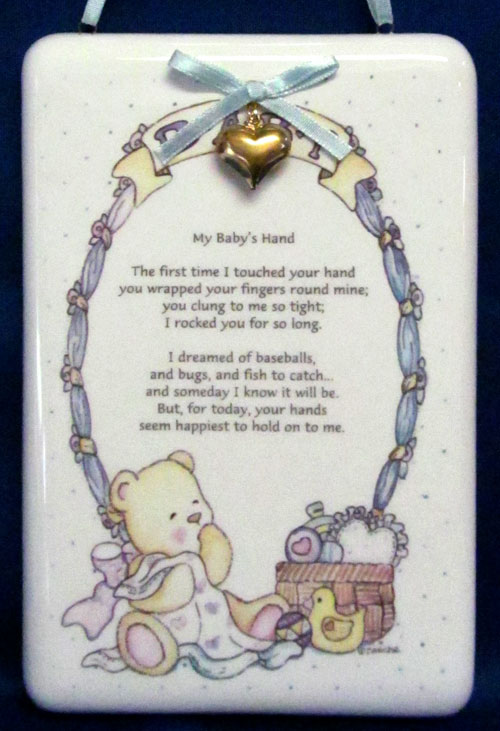 Baby Boy Poem Ceramic Hanging Plaque Closeouts
