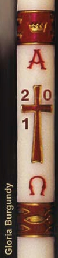 "Gloria Paschal Candle - Burgundy- 2""x39"""