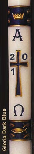 "Gloria Paschal Candle - Dark Blue- 2"" x39"""