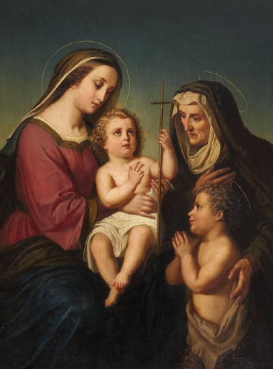 Blank Madonna & Child w. St. Elizabeth and St. John Greeting Card