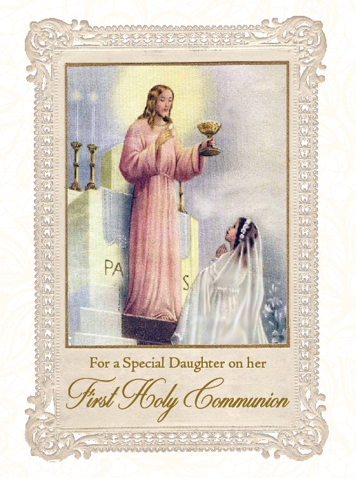 For a Special Daughter on her First Holy Communion - Greeting Card