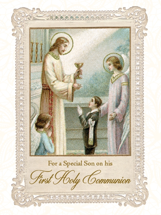 For a Special Son on his First Holy Communion - Greeting Card