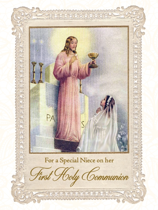 For a Special Niece on her First Holy Communion - Greeting Card