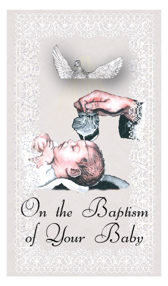 On the Baptism of Your Baby - Plain Holy Cards