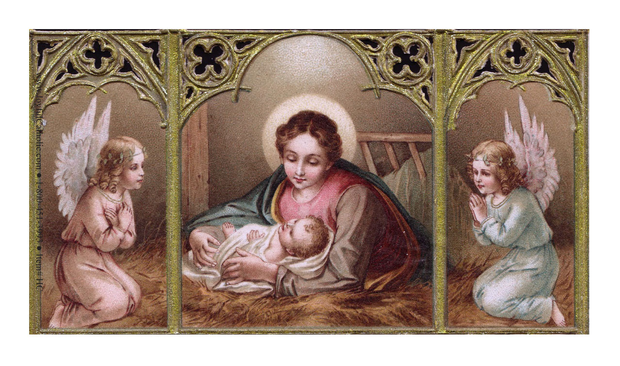 Nativity with Angels Holy Card Laminated
