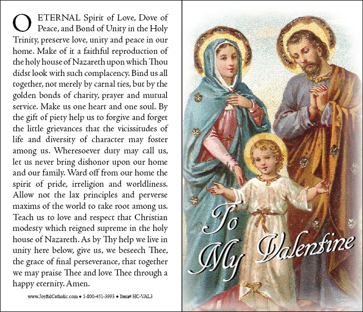prayer for married couples st valentines day holy cards