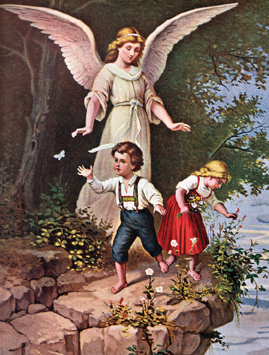 Guardian Angel With Children 8x10 Picture Pictures