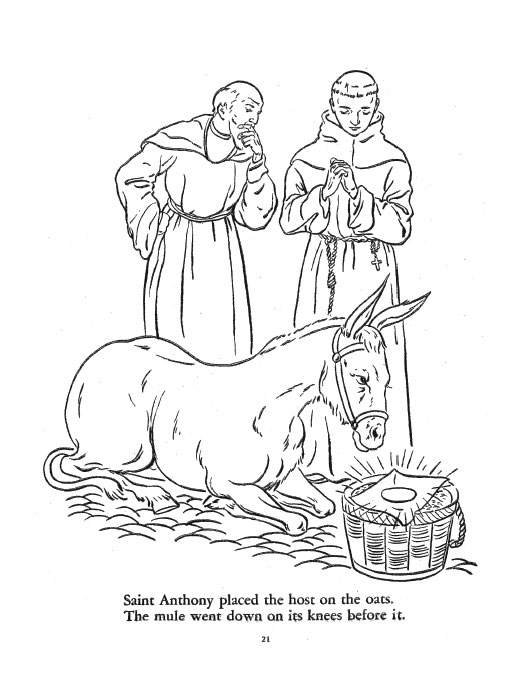 the legend of st anthony the fishes and the mule coloring book