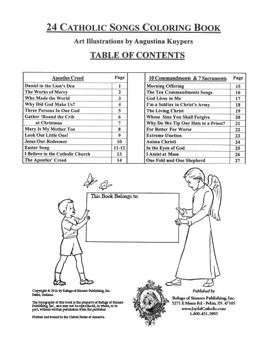 24 Catholic Songs for Children - Coloring Book > Books