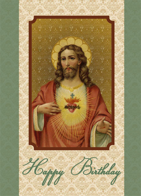 Sacred Heart Of Jesus Happy Birthday Card Greeting Cards