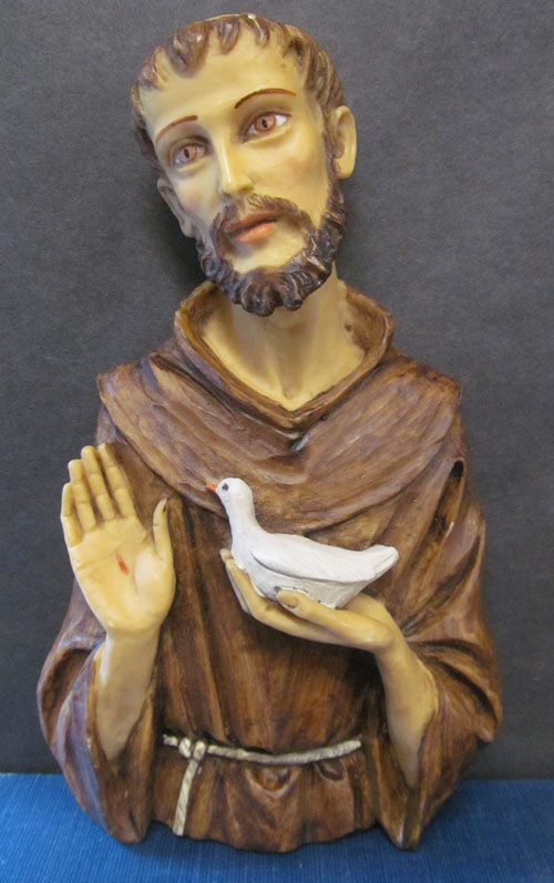 St. Francis with Bird Bust Wall Plaque