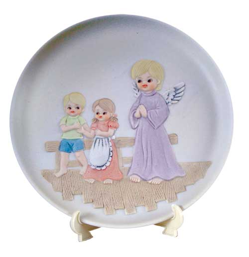 Guardian Angel Decorative Plate with Stand