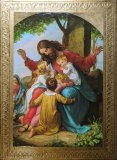 Jesus with Children Florentine Wood Plaque