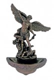 Bronze Dipped St. Michael Holy Water Font