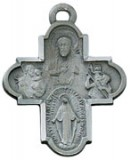 Large Pewter 5 Way Scapular with Chain