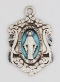 "Ornate Blue Enamel Miraculous Medal on 18"" Chain [ clone ]"