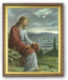 Jesus Overlooking Jerusalem 8x10 Framed Picture