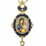 Eternal Bloom Madonna and Child Enameled Icon Pendant