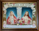 God Bless Our Home Walnut Frame Picture