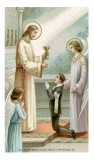 Jesus Giving Communion to a Boy Holy Card Laminated