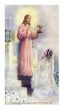 Jesus Giving Communion to a Girl Holy Card Laminated