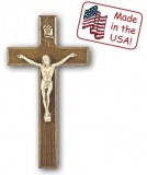 Bronze Beveled Walnut Crucifix - 8""