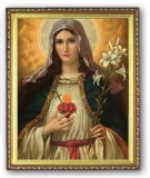 Immaculate Heart w/ Lillies 8x10 Framed Picture