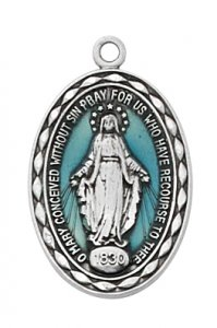 "Blue Enamel Miraculous Medal on 18"" Chain"