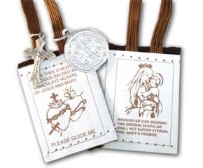 Brown Scapular Brown & White Cord
