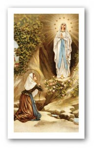 Prayer to Our Lady of Lourdes Holy Card Laminated