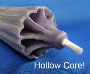 "Hollow Core Advent Candles - 100% -  1-1/2"" x 15"""