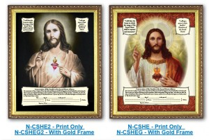 Sacred Heart Enthronement Certificate - Available Framed