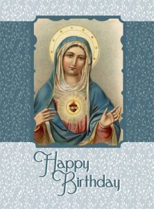 Immaculate Heart of Mary Happy Birthday Card