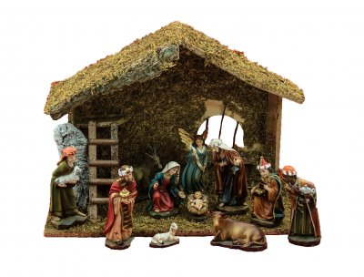 Wood Stable Nativity Set