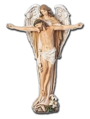 Angel Carrying Jesus with Outstretched Arms Statue