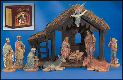 DiGiovanni 10-Pc Nativity Set with Wood Stable