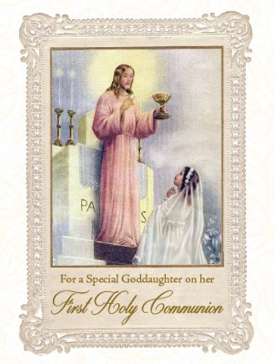 For a Special Goddaughter on her First Holy Communion - Greeting Card
